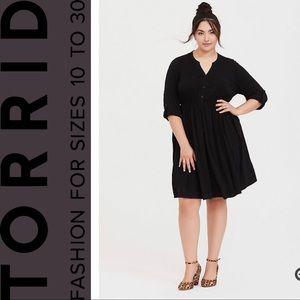 Torrid Black Challis Button Front Shirt Dress, 2x